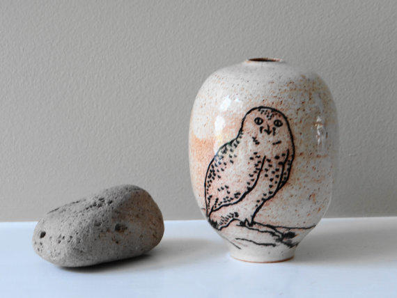 White Snowy Owl Vase Bud Vase Small From Teahouse Pottery