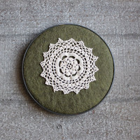 Cottage Chic Doily Lace Green Wool Felt Embroidery Hoop Art Wall Decor