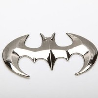 (1) 3D Batman Bat Logo Metal Style JDM Euro Cool Funny Car Decal or Sticker, Silver