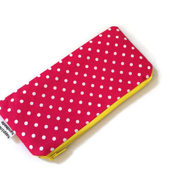 Polka Dots Zip Pouch - Pink Pencil Case -  Pink Zip Pouch - Small Cosmetic Bag - Zipper Wallet - Coin Purse - Back to School - Teachers Gift