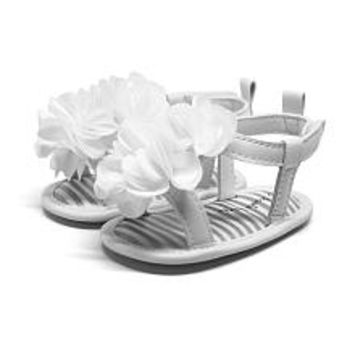 Koala Kids Girls White Jelly Thong Sandal with Flower Applique