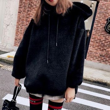 PEAPUF3 Fashion Long Sleeve Hooded  Thick Medium-long Side Zipper Sweater Black