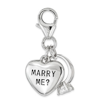 Sterling Silver w/ CZ MARRY ME Heart and Ring Lobster Clasp Charm QCC1194