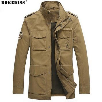 Military German style men Jacket Thicken army green male Parka loose solid color hombre Winter outerwear size men coat TC504