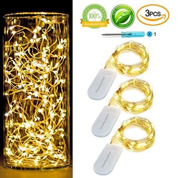 [3-PACK]3.5ft LED String Llights Battery Operated 20LEDs Warm White Fairy Lights On Silver Wire 2 x 2032Batteries Included,Starry String Lights For Party,Event,Wedding,Floral Applications (Warm white)