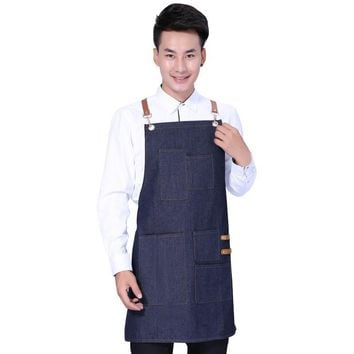 Kitchen Apron Adjusted Sleeveless Denim Cleaning Apron