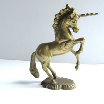 Brass Unicorn Figurine Hollywood Regency