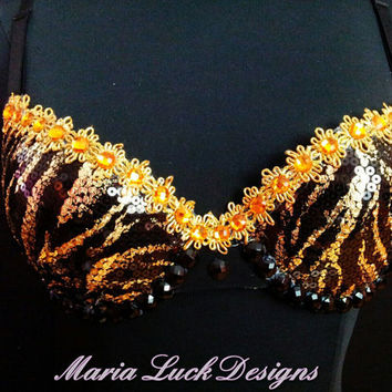 Sexy shiny Black and Gold Bra with by marialuck on Etsy