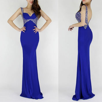 6 Colors Black/Royal Blue/Red/Purple Mermaid Evening Dresses Long Sequin Dinner Party Dresses Grace Karin Evening Gown