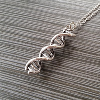 DNA Necklace - Helix Pewter Charm Necklace - Science Necklace - Custom Gift - Geeky Gift - Trendy Gift - Large DNA Charm Necklace