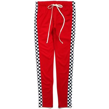 Racing Track Pants Red Checker