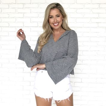 Grey Hoodie Crop Sweater