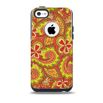 The Retro Red and Green Floral Pattern Skin for the iPhone 5c OtterBox Commuter Case