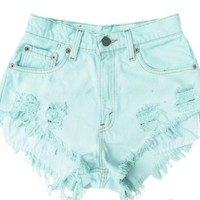 Highwaisted Denim Shorts Bradlei Pastel Mint Green by funKiDesigns