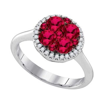 14kt White Gold Women's Round Ruby Cluster Diamond Halo Bridal Ring 1-1/8 Cttw - FREE Shipping (US/CAN)