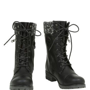 Black Sweater Accent Combat Boot