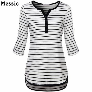Women V-Neck 3/4 Roll Up Sleeve Casual Striped Tunic Shirts High Low Hem Slim Fit Casual Summer Tops With Buttons Female T-Shirt