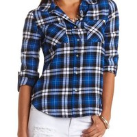 Plaid Flannel Button-Up Top by Charlotte Russe - Blue Combo