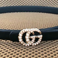 GUCCI Trending Woman Stylish Pearl Smooth Buckle Leather Belt I-KWKWM