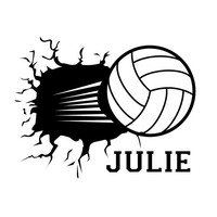 Personalized Volleyball Smashing Through the Wall with Name - Wall Sticker Vinyl Decal
