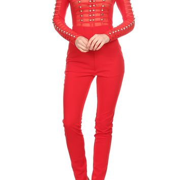 Jumpsuit with mesh bodice detail with jewel