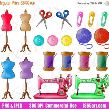 50% OFF SALE Sewing Clipart, Sewing Clip Art, Sewing Set, Arts and Crafts, Seamstress Clipart, Planner Sticker Graphics, PNG, Commercial