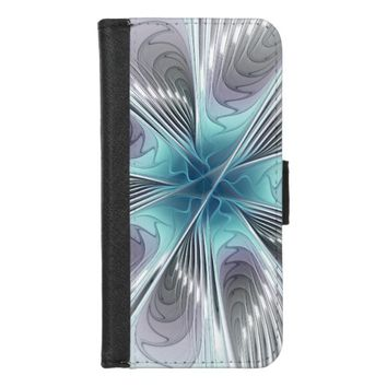 Elegance, Modern Blue Gray White Fractal Flower iPhone 8/7 Wallet Case