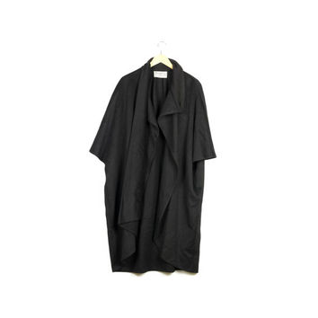 Gemini black wool cape / vintage 100% wool / robe / jedi cloak / goth / gothic streetwear / coat / witch / witchy open front poncho / unisex