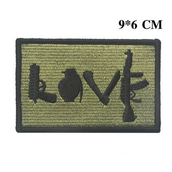 Embroidered LOVE patches gun knife refile US army morale tactical patch militare ISAF combat patch hook   for vest coat