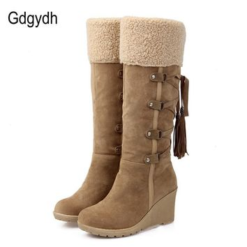 Gdgydh Fashion Scrub Plush Snow Boots Women Wedges Knee-high Slip-resistant Boots Ther