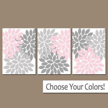 Pink Gray Nursery Wall Art, CANVAS or Prints Pink Gray Bedroom Pictures, Pink Gray Bathroom Decor, Flower Bursts Set of 3 Home Decor