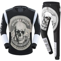 Philipp Plein Women or Men Fashion Casual Pattern Print Top Sweater Pullover Pants Trousers Set Two-Piece
