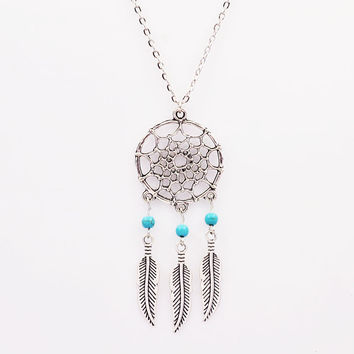 Dream Catcher Natural Stone Feather Pendant Earrings Sets Jewelry Vintage Turquoise Long Necklaces & Pendants For Women