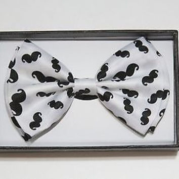 WHITE WITH BLACK MUSTACHES ADJUSTABLE  BOW TIE BOWTIE-NEW!IMUSTACHES BOW TIE