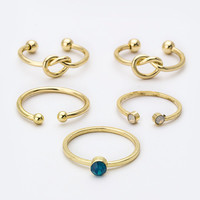 Nesrin Ring Set- Gold