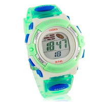 Round Dial Waterproof Digital Electronic Watch with Plastic Strap (Green)