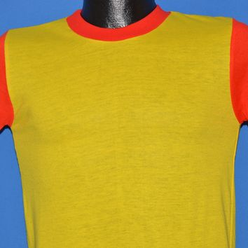 70s Yellow And Red Color Block t-shirt Small