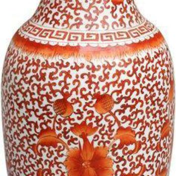 Coral Red Twisted Lotus Squash Vase