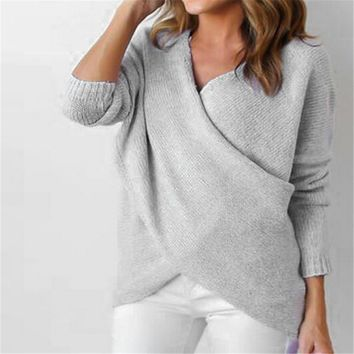 Criss Cross Loose Fit Baggy Sweater