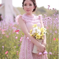 [Free Shipping] Sleeveless Frilled Minidress RF813 Purple