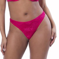 Sexy Respect My Curves Diagonal Eyelash Lace Plus Size Thong
