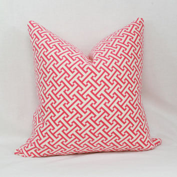 "Pink & white Greek key decorative throw pillow cover. 18"" x 18"". 20"" x 20"". 13"" x 20"". Waverly cross section pillow cover."