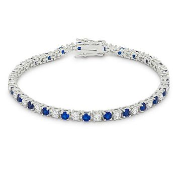 Cassidy Sapphire and Clear Round CZ Tennis Bracelet - 7in | 10ct