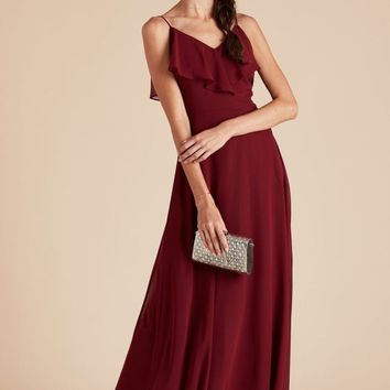 Autumn Flutter Sleeve Bridesmaid Dress - Burgundy