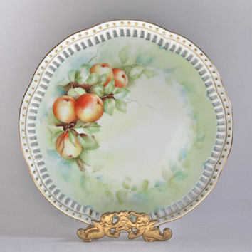 Fruit Decor Plate / Peaches / Handpainted and Signed / Home Decor