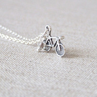 Tour De France - Bicycle Charm Necklace - Charm Necklace in antique silver with a delicate chain - bicycle jewelry