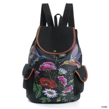 Girls bookbag Miyahouse High Quality Flowers And Birds Design Canvas Backpacks Female Floral Drawstring Travel Rucksack Girls Bookbag AT_52_3