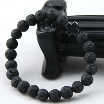 Lava Stone Beads With Cross Bracelet