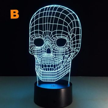 Creative Visual Illusion 3D Skull Shape LED Night Table Lamp with USB for Home Decoration.