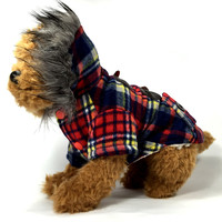 Christmas Checked Dog Coat with Hoodie